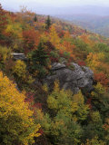 Rocky Outcrop and Autumn Colors Along the Blue Ridge National Parkway, Appalachian Mountains Photographic Print by Adam Jones
