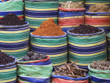 Rows of Colorful Spices for Sale, Luxor, Egypt Photographic Print by Adam Jones