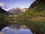 Maroon Bells Reflected in Maroon Lake, White River National Forest, Rocky Mountains, Colorado, USA Photographic Print by Adam Jones