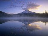 Mt. Hood and Clouds Mirrored on Trillium Lake at Sunrise, Mt. Hood Wilderness Area, Oregon, USA Photographic Print by Adam Jones