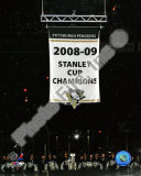 The Pittsburgh Penguins raise their 2008-09 Stanley Cup Champions Banner Photo