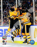 Patrice Bergeron, Zdeno Chara, & Marco Sturm Celebrate Game Winning Goal 2010 NHL Winter Classic Photo