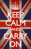Keep Calm and Carry On (Motivational, Union Jack Flag) Posters