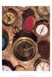 Antique Compass Collage Kunstdruck