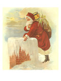 Santa on Rooftop, 1880 Giclee Print by Charles Graham