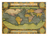 Oval World Map 1598 Giclee Print by Abraham Ortelius