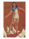 Farm Girl Pin-Up Feeding Chickens in Short Overalls, 1945 Giclee Print