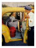 Cab Driver and Lady Giclee Print