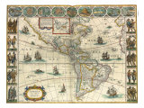 Map of New World 1617 Lámina giclée por Johannes Blaeu