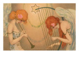 Female Angel Musicians, 1903 Giclee Print by Raphael Kirchner