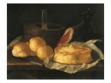 Still Life with Bread, Tart and Ham, 1695 Giclee Print by Giuseppe Recco