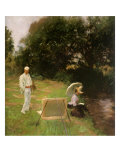 Dennis Miller Bunker Painting at Calcot, 1888 Giclee Print by John Singer Sargent