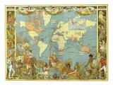 Mapa del Imperio Británico en 1886 Lámina giclée por Crane, Walter
