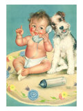 Baby Talks, Dog Listens Giclee Print by Charlotte Becker