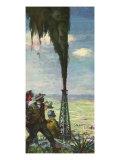 Men Watch Oil Gusher, 1936 Giclee Print