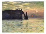 Sunset at Etretat, 1883 Giclee Print by Claude Monet