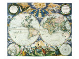 Old World Map 1666 Reproduction procédé giclée par Pieter Goos