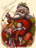 Santa Holds Armful of Toys, 1880 Giclee Print by Thomas Nast