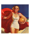 Pin-Up Girl Running on Beach with Beach Ball, 1939 Giclee Print