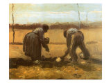 Peasant and Peasant Woman Planting Potatoes, 1885 Giclee Print by Vincent van Gogh