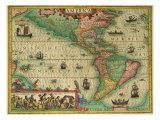 Americas and Regions 1606 Giclee Print by Jodocus Hondius