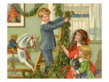 Children Hanging Christmas Holly Giclee Print by Rosa C. Petherick
