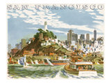 Coit Tower and North Beach. San Francisco Giclée-tryk