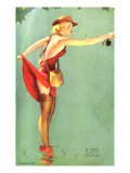 Pin-Up Fishing with Skirt Caught in Hook, 1940 Giclee Print
