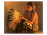 Old War Bonnet, 1916 Giclee Print by Joseph Henry Sharp