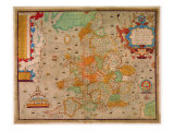 Ancient Map of England 1579 Giclee Print by Christopher Saxton