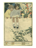Two Girls Sitting on Garden Wall Impression giclée par Jessie Willcox-Smith