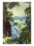 Romantic Couple with Moon at Night Giclee Print