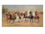 Cowboy Gunbattle Giclee Print by Frederic Sackrider Remington