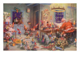 Santa and Elves, Workshop Giclee Print