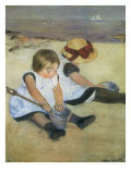 Children on the Beach, 1884 Reproduction procédé giclée par Mary Cassatt