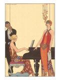 Woman Playing Piano, 1922 Lámina giclée por Barbier, Georges