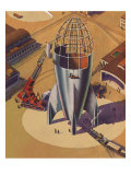 Sci Fi - Building Rocket Ship, 1948 Giclee Print