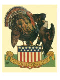 Turkey Shoving Eagle, 1931 Giclee Print by Emmett Watson