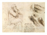 Old Man and Water Studies, 1513 Giclee Print by  Leonardo da Vinci