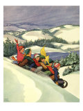 Children on Toboggan, 1936 Giclee Print by Miriam Story Hurford