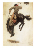 Man on Bucking Bronco, 1902 Giclee Print by Newell Convers Wyeth