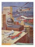 Sci Fi - Futuristic City Scene, 1931 Giclee Print