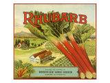 Rhubarb Fruit Label Giclee Print