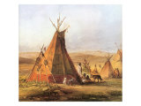 Tepees on the Plain, 1833 Giclee Print by Karl Bodmer