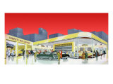 1950's Service Station, 1950 Giclee Print