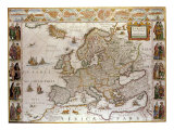 Map of Europe,1619-1672 Giclee Print