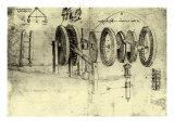 View of a Hoist Giclée-Druck von  Leonardo da Vinci