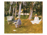 Monet Painting Woods, 1888 Giclee Print by John Singer Sargent