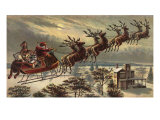 Santa, Sleigh, Reindeer Giclee Print