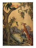 Fox and Rooster in Tree, 1919 Giclée-tryk af Milo Winter
